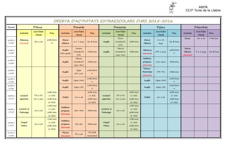 Calendari extraescolars 2015-2015