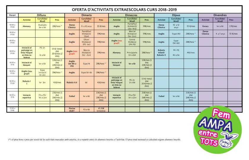 Quadre Activitats 2018-2019